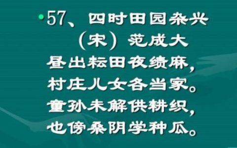 《四时田园杂兴》的译文是什么